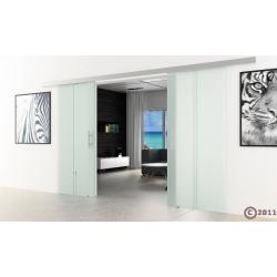 Glasschiebetür 2x775x2050mm senkrecht gestreift Satino