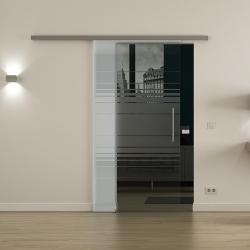 Glasschiebetür SoftClose-Schiene 900x2050mm Horizont-Design (H) Stangengriff