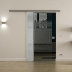 Glasschiebetür SoftClose-Schiene 775 x 2050mm Lamellen-Design (L) Stangengriff