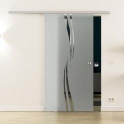 Glasschiebetür SoftClose-Schiene 900 x 2050mm Wellen-Design (A)