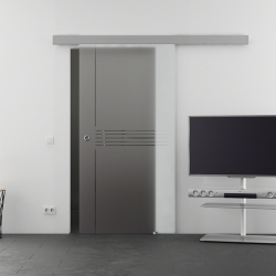 775 x 2050 mm Glasschiebtür Siebdruck Idea-Design (I) Muschelgriff
