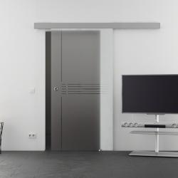 900 x 2050 mm Glasschiebtür Siebdruck Idea-Design (I) Muschelgriff - Levidor Basic