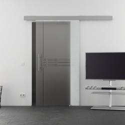 900 x 2050 mm Glasschiebtür Idea-Design (I) Stangengriff - Levidor Basic mit Griffschutz