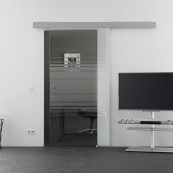 900 x 2050 mm Glasschiebtür Siebdruck Horizont-Design (H) Muschelgriff - Levidor Basic