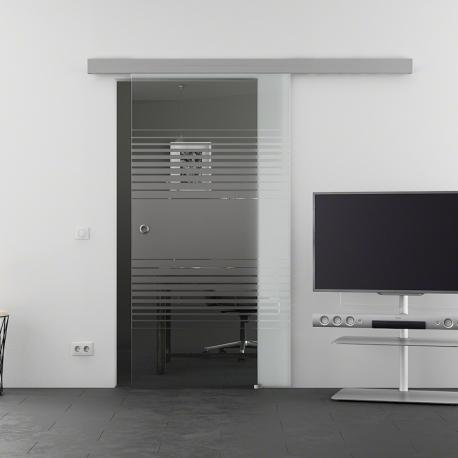 900 x 2050 mm Glasschiebtür Siebdruck Lamellen-Design (L) Muschelgriff