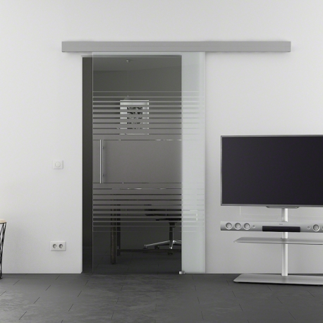 900 x 2050 mm Glasschiebtür Siebdruck Lamellen-Design (L) Stangengriff