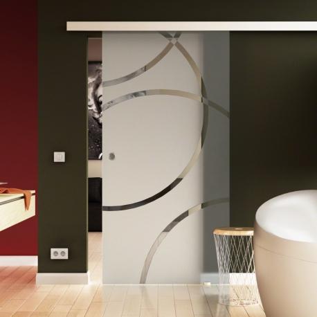900 x 2050 mm Glasschiebtür  Circle-Design Door (D) Muschelgriff
