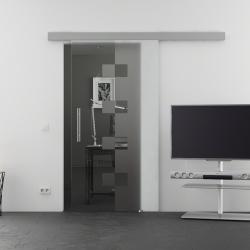 900 x 2050 mm Glasschiebtür Siebdruck Würfel-Design (W) Stangengriff - Levidor Basic