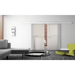 Glasschiebetür 2 Stk.  1025 x 2050 x 8 mm Siebdruck-Design Idea (I) Muschelgriffe
