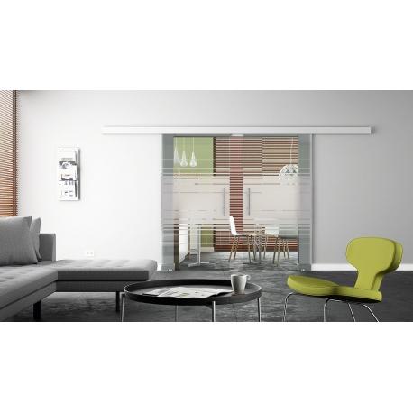 Glasschiebetür 2 Stk. 1025 x 2050 x 8 mm Siebdruck-Design Horizont (H) Stangengriffe