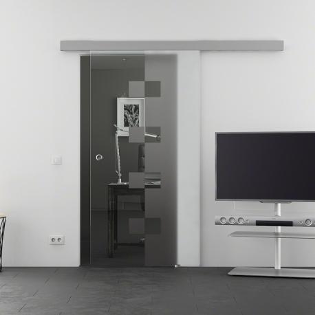 900 x 2050 mm Glasschiebtür Siebdruck Würfel-Design (W) Muschelgriff