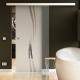 900 x 2050 mm Glasschiebtür Siebdruck Wellen-Design (A) Muschelgriff