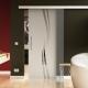 900 x 2050 mm Glasschiebtür Siebdruck Wellen-Design (A) Stangengriff