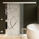 900 x 2050 mm Glasschiebtür Siebdruck Ellipsen-Design (E) Muschelgriff