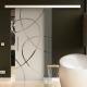 900 x 2050 mm Glasschiebtür Siebdruck Ellipsen-Design (E) Stangengriff