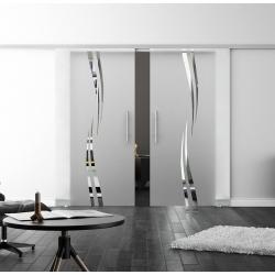 Glasschiebetür SoftClose-Schiene 2 x 775 x 2050mm Wellen-Design (A) - Stangengriffe