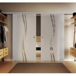 2 x 900 x 2050 mm Doppel-Glasschiebtür Siebdruck Wellen-Design (A) Muschelgriffe