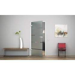 Glastür Ganzglastür Drehtür aus ESG-Glas (Einscheibensicherheitsglas) LEVIDOR ® in 5-Streifen-Design (S)  für Studio Griff und S