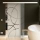 900 x 2050 mm Glasschiebtür Siebdruck Ellipsen-Design Frankfurt (F) Muschelgriff