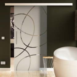 900 x 2050 mm Glasschiebtür Ellipsen-Design Frankfurt (F) Stangengriff