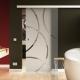 900 x 2050 mm Glasschiebtür  Circle-Design (C) Muschelgriff