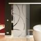 900 x 2050 mm Glasschiebtür Circle-Design (C) Stangengriff Levidor Easy-Slide