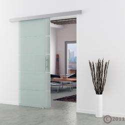 Schiebetür Glas 1025 x 2050 mm  Stangengriff Edelstahl - Levidor Basic