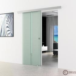 1025 x 2050 mm Glasschiebtür senkrecht satiniert Muschelgriff - Levidor Basic