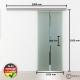 1025 x 2050 mm Schiebetür Glas Stangengriff Edelstahl