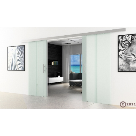 Glasschiebetür 2x1025x2050mm senkrecht gestreift Satino
